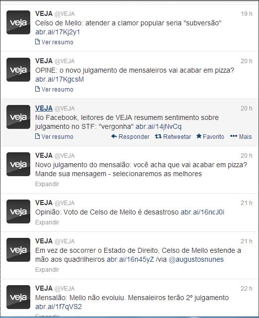 Print Screen do Twitter da Revista Veja logo após o voto do Ministro Celso de Mello